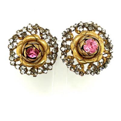 Vintage Miriam Haskell Rose Montee Earrings 1960's