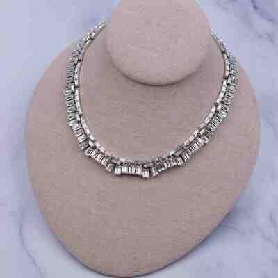 Vintage Trifari Rhinestones Baguette Necklace 1950's