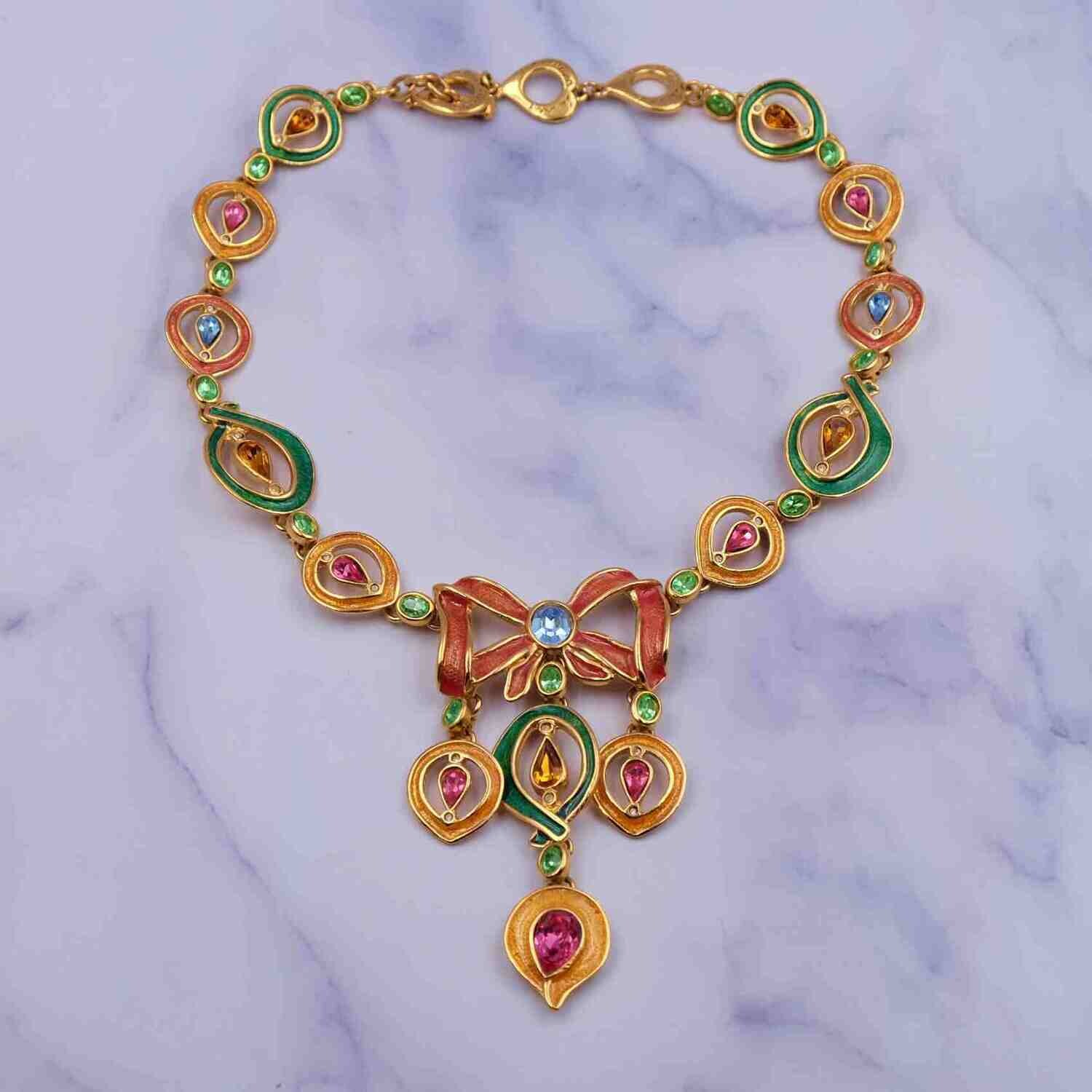 Very Rare Collectible Yves Saint Laurent YSL Enamel Necklace 1990's