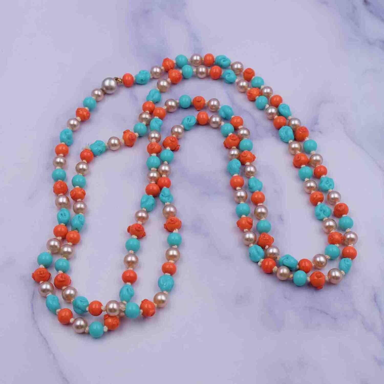 Vintage Early Glass Sotuar necklace 1930's