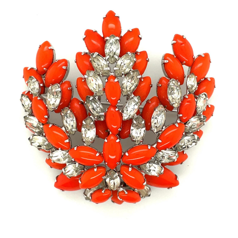 Vintage Kramer Bright Orange Glass Brooch 1950's