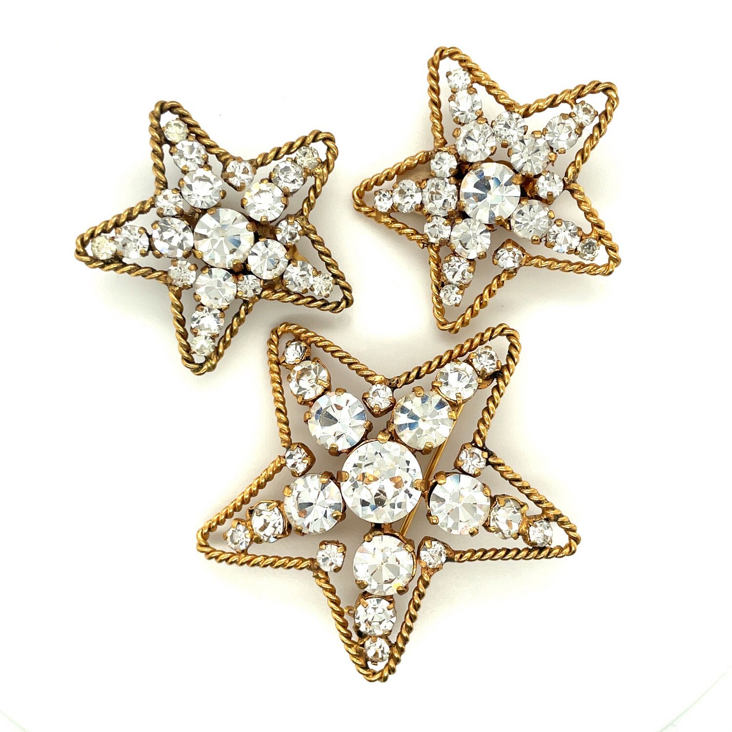 Vintage Collectible CHANEL Stars Set 1983 Brooch and Earrings