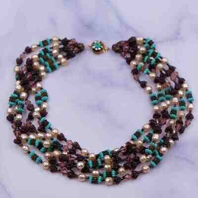 Vintage Miriam Haskell 1950's 6 strand Necklace