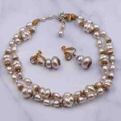 Vintage Miriam Haskell Unusual Shape Faux Pearls Set 1950's