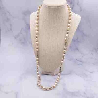 Vintage Miriam Haskell Faux Pearls Sotuar Necklace 1950's