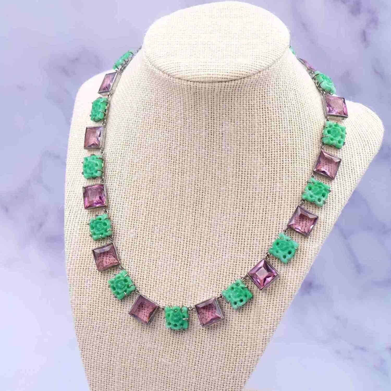 Antique Paste Glass Necklace 1930's