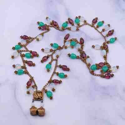Antique Czech Glass Faux Opal Emerald Amethyst Long Sotuar 1900's