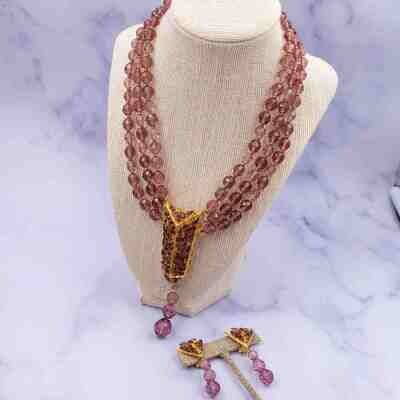 Vintage Christian Dior Germany 1963 Necklace and Pendant Lilac Beads Set