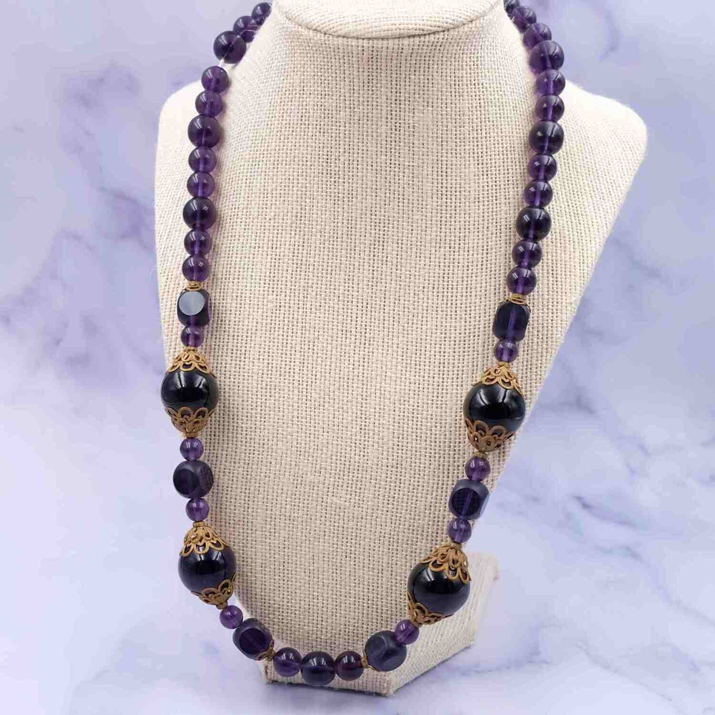 Antique Purple Glass Beads Necklace 1900's