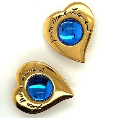 Vintage YSL Yves Saint Laurent Blue Hearts Earrings