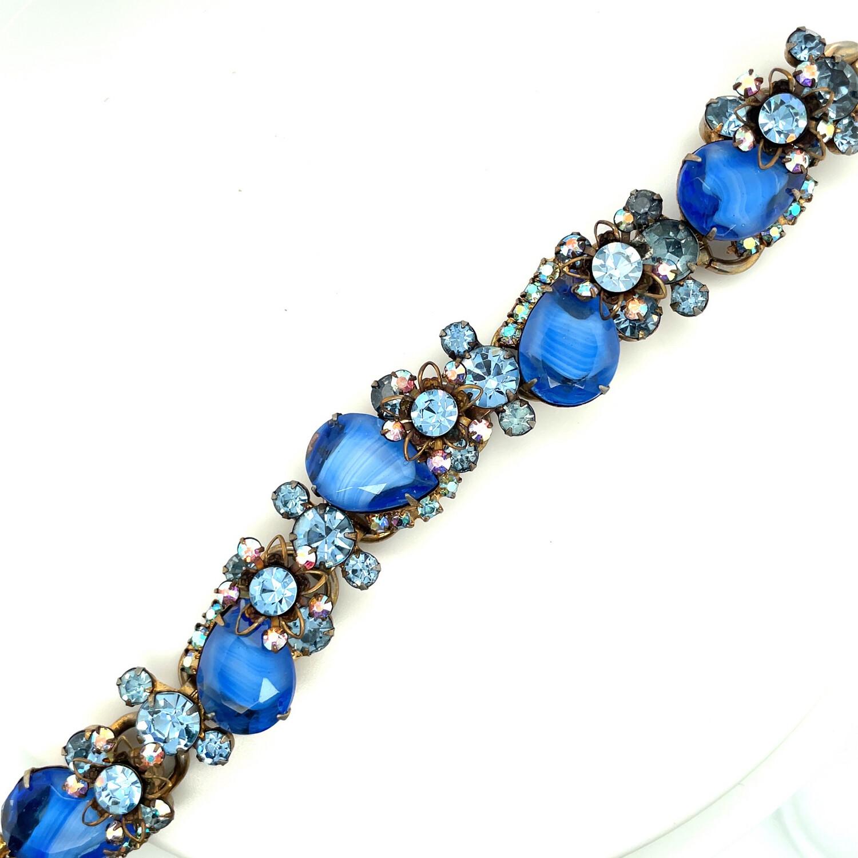 Vintage Delizza&Elster Blue Rhinestones Bracelet 1950's