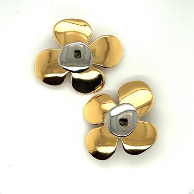 Yves Saint Laurent YSL 2 Color Flowers Earrings 1990's