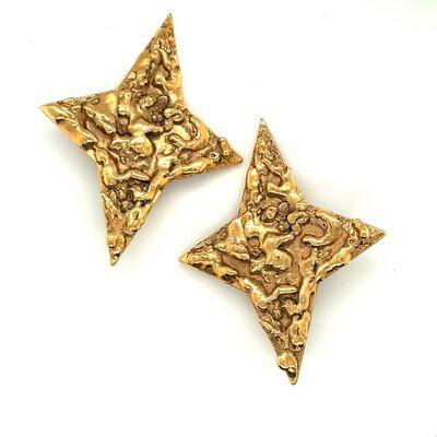 Vintage YSL Yves Saint Laurent Rive Gauche Stars Earrings 1980's