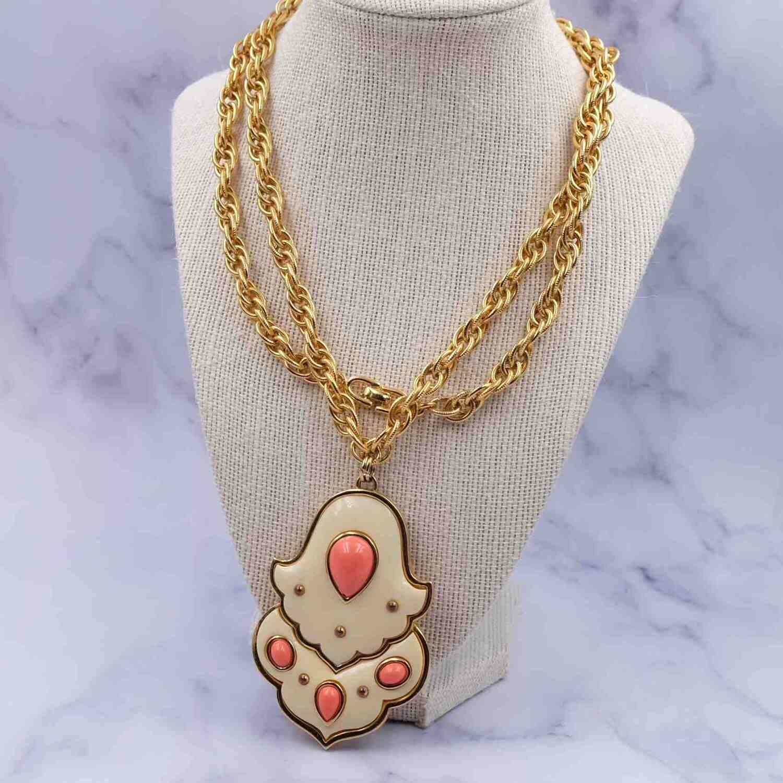 Vintage Massive Givenchy Pendant Necklace 1977