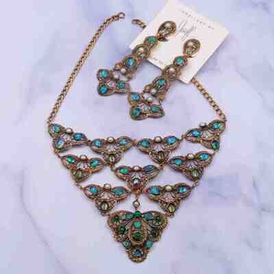 Very Collectible Joseff of Hollywood Art Nouveau Necklace and Earrings Set 1940's