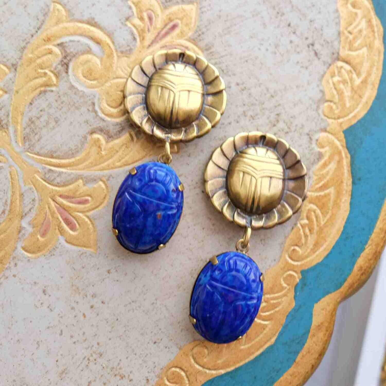 Vintage Joseff of Hollywood Blue Scarab Earrings 1950's