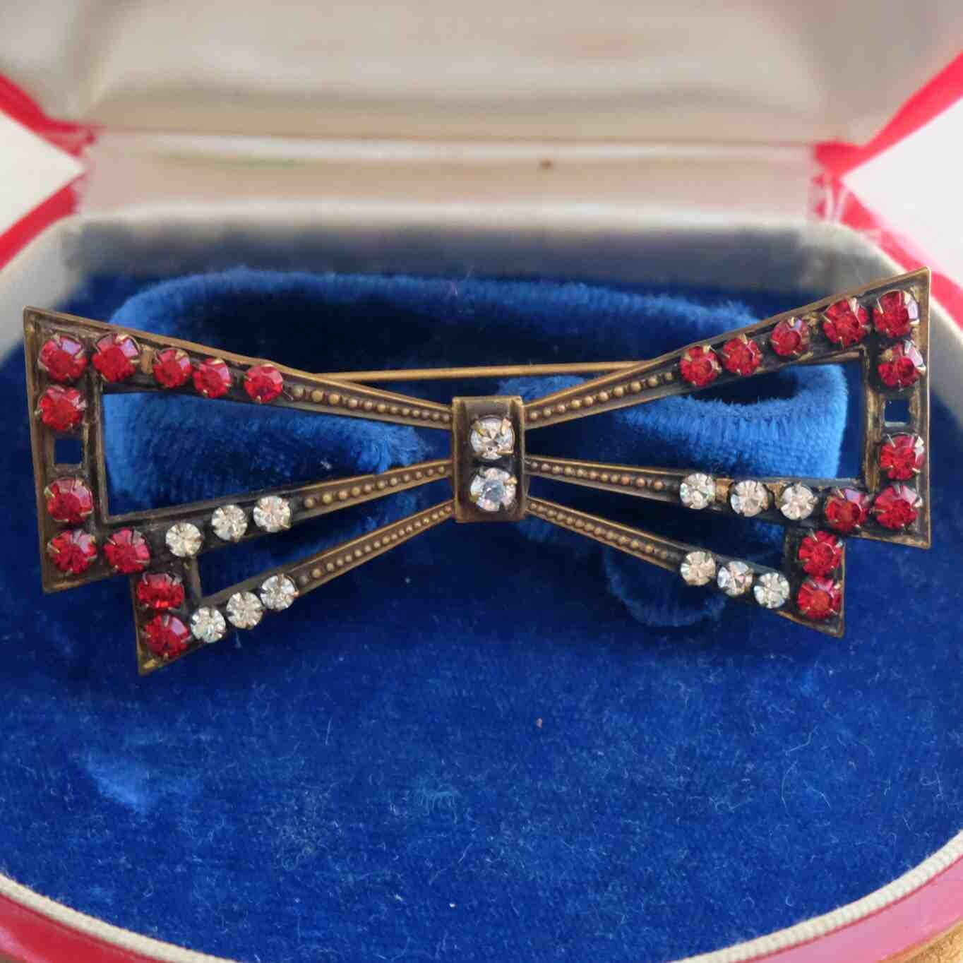 Joseff of Hollywood Red Bow Pin 1940's