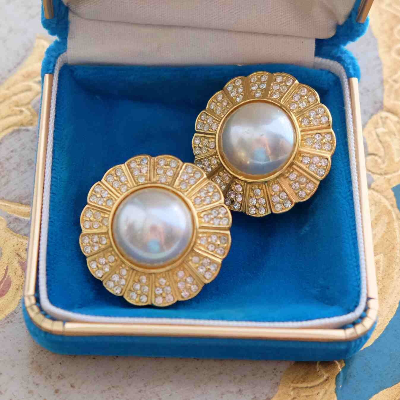 Christian Dior Round Faux Pearls Earrings 1990's