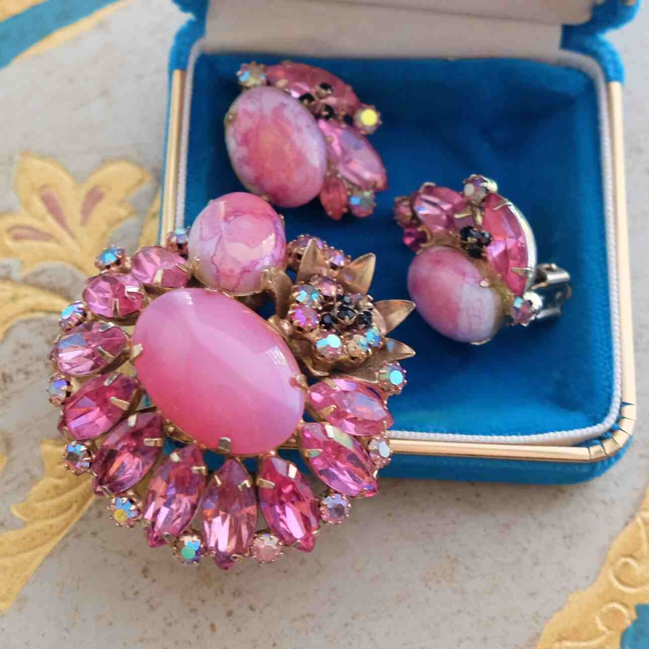 Vintage Unsigned Pink Glass Brooch and Earrings 1950's