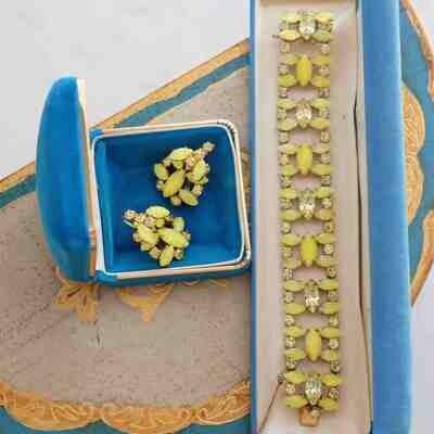 Vintage Schreiner Lemon Bracelet and Earrings 1960's