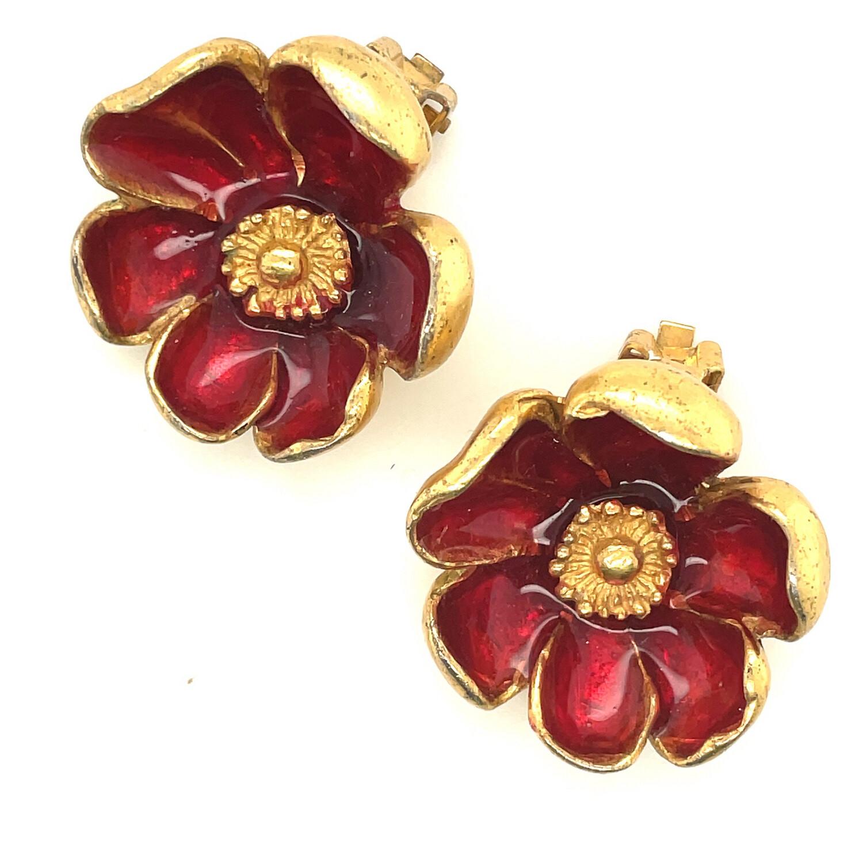 Vintage Kenzo Burgundy Enamel Flower Earrings 1990's