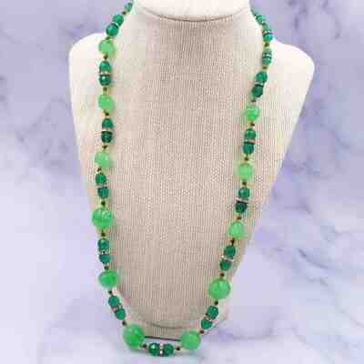 Vintage Green Glass Necklace 1960's
