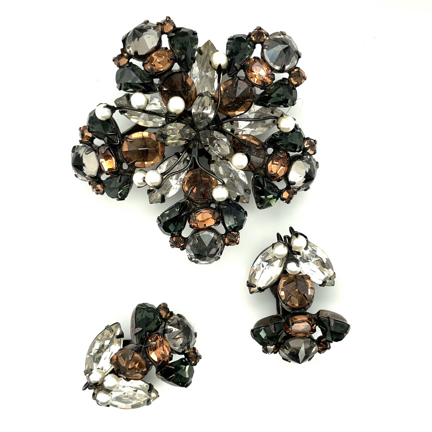 Vintage Schreiner Autumn Brooch and Earrings Set 1950's