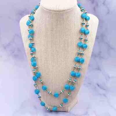 Vintage Blue Glass Deco Flapper Necklace 1930's