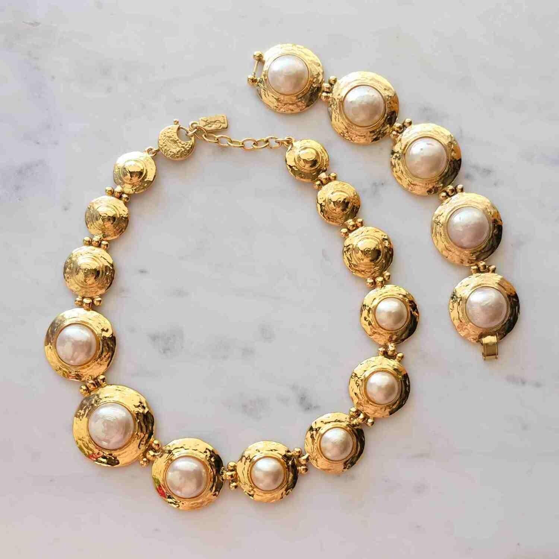 Vintage Yves Saint Laurent Faux Pearl Necklace and Bracelet 1980's