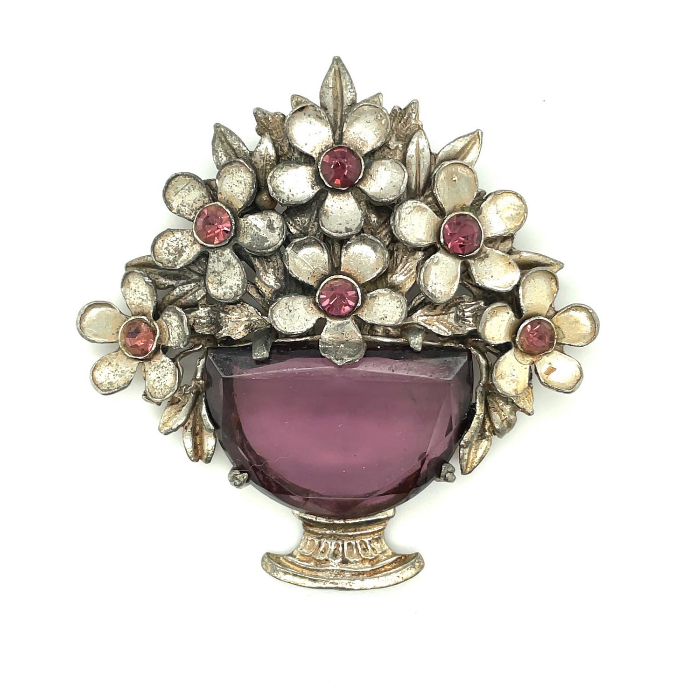 Vintage Goldman Purple Glass Basket Pin 1930's