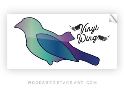 "Vinyl Wings Sticker - White 4"" by 2"""