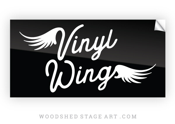 Vinyl Wings Sticker - Black and White 4