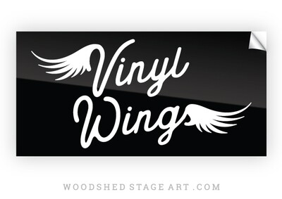 Vinyl Wings Sticker - Black and White 4
