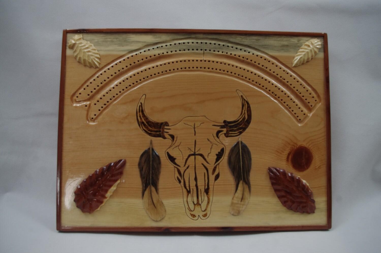 Buffalo Skull Cribbage Board