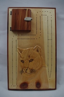 Carved Cougar Cribbage Board