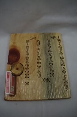 Carved Cribbage Board with Wavy Wood Burned Design