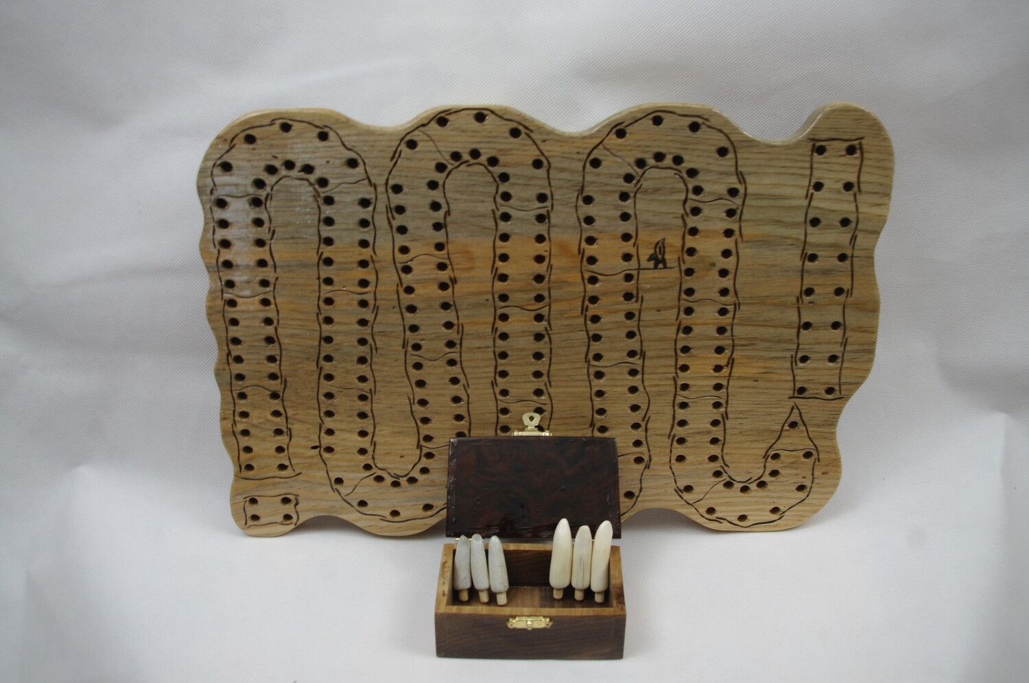 Serpentine Cribbage Board with Box (XL Peg Holes)