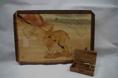 Whitetail Fawn Cribbage Board with Card & Peg Box