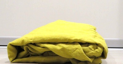 FITTED SHEET, 100% LINEN, STONE WASHED, CITRINE