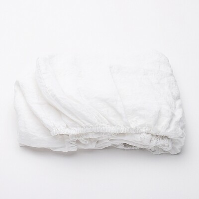 FITTED SHEET, 100% LINEN, STONE WASHED, OPTICAL WHITE