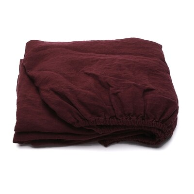 FITTED SHEET, 100% LINEN, STONE WASHED, WINE