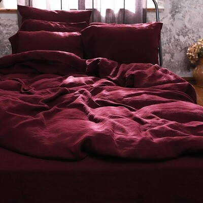 DUVET COVER, 100% LINEN, STONE WASHED, WINE