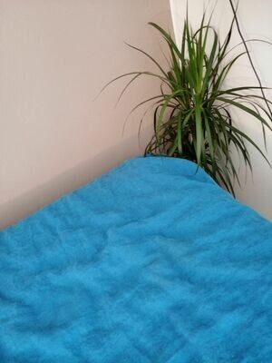 FITTED SHEET, 100% LINEN, STONE WASHED, SEA BLUE
