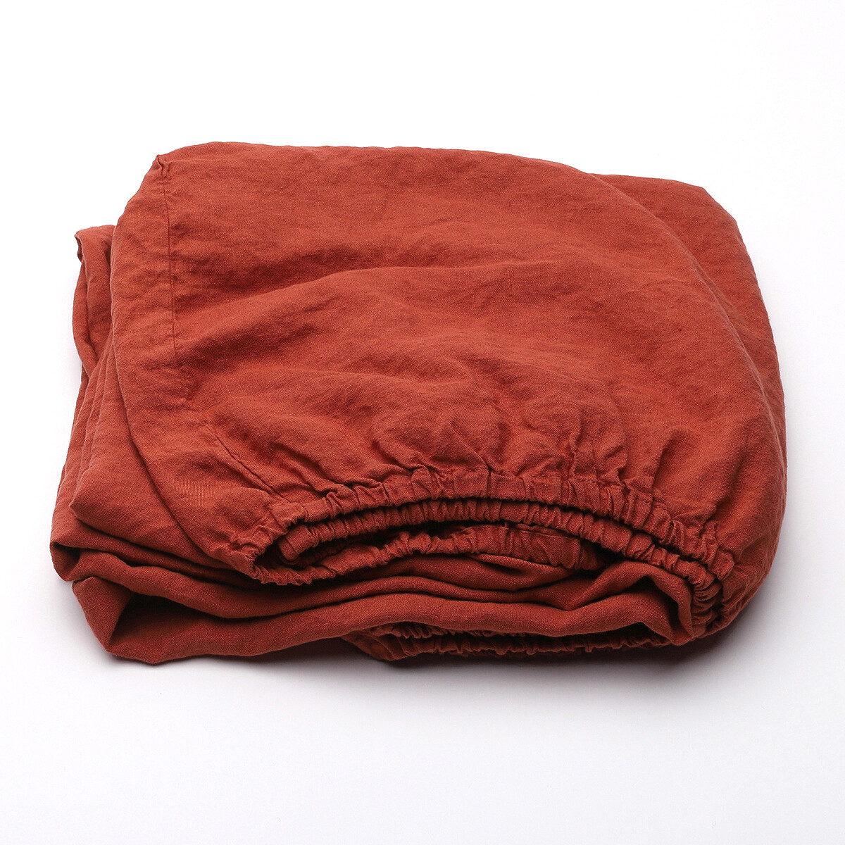 FITTED SHEET, 100% LINEN, STONE WASHED, BRICK