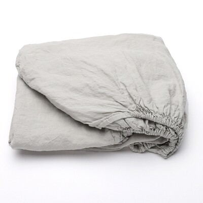 FITTED SHEET, 100% LINEN, STONE WASHED, SILVER