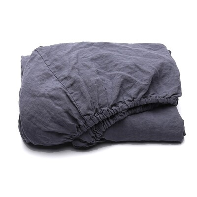FITTED SHEET, 100% LINEN, STONE WASHED, BLUEBERRY