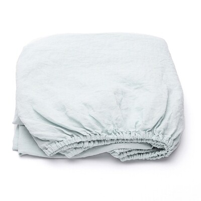 FITTED SHEET, 100% LINEN, STONE WASHED, ICE BLUE