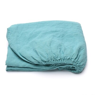 FITTED SHEET, 100% LINEN, STONE WASHED, 90X200X20