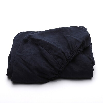 """FITTED SHEET, 100% LINEN, STONE WASHED, """"NAVY BLUE"""""""