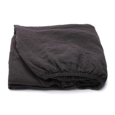 FITTED SHEET, 100% LINEN, STONE WASHED, DARK GREY